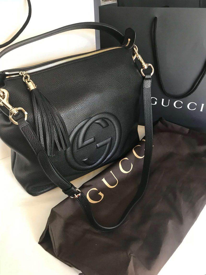 12c28f26c9ca NEW 100% Authentic GUCCI Black Soho Hobo Leather Shoulder Bag 536194 ...