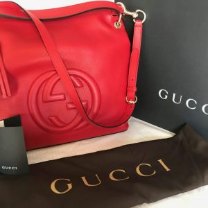 22be7d2e114 100% Authentic GUCCI RED Soho Hobo Leather Shoulder Bag